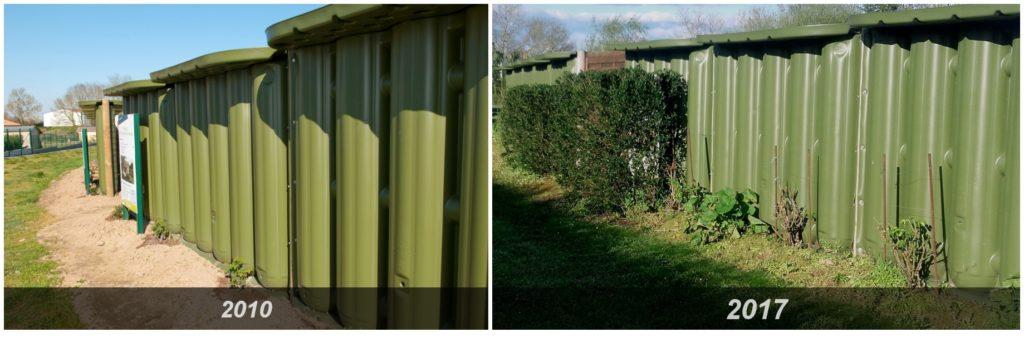 Evolution d'une clôture Ecol'eaumur entre 2010 et 2017.